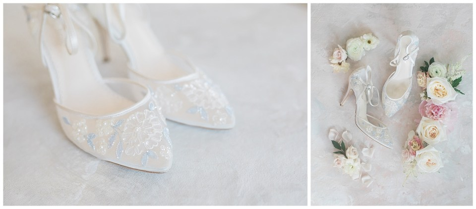 Wedding shoes surrounded by flowers during a fine art wedding photoshoot in South Dakota.