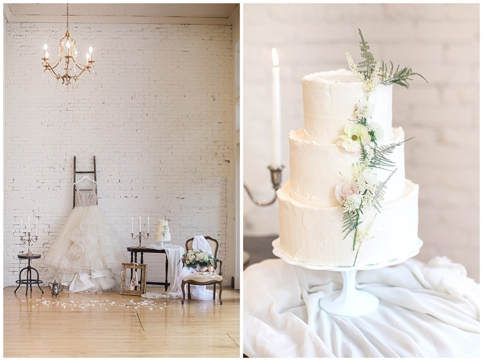 Table with cake and background for a romantic fine art wedding photoshoot in South Dakota