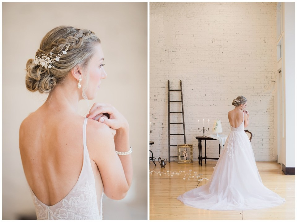 Bride posing away from the camera during a fine art wedding photoshoot in South Dakota.