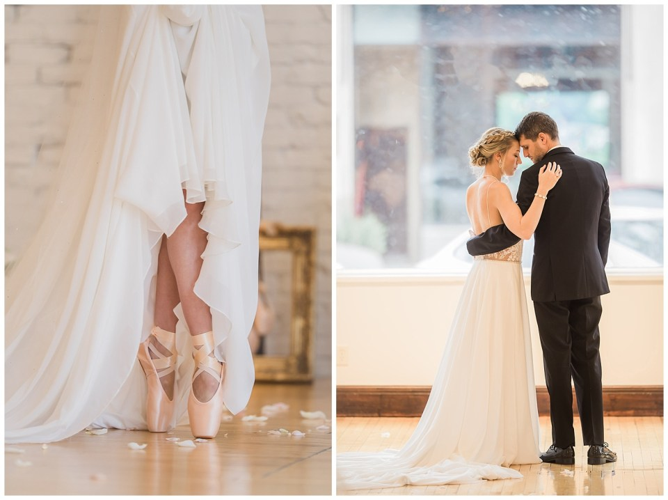 Bride and groom looking a each other and detail shot of ballerina wedding shoes.