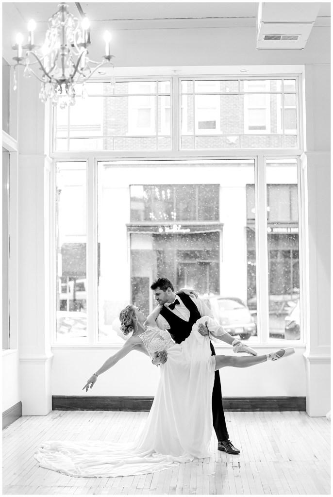Bbride and groom dancing .