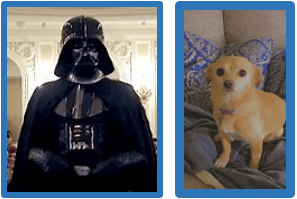 "(Darth & Her Pup ""Tater"")"
