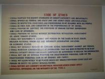 Code of Ethics posted inside the prison (Source: http://minutesbeforesix.blogspot.com)