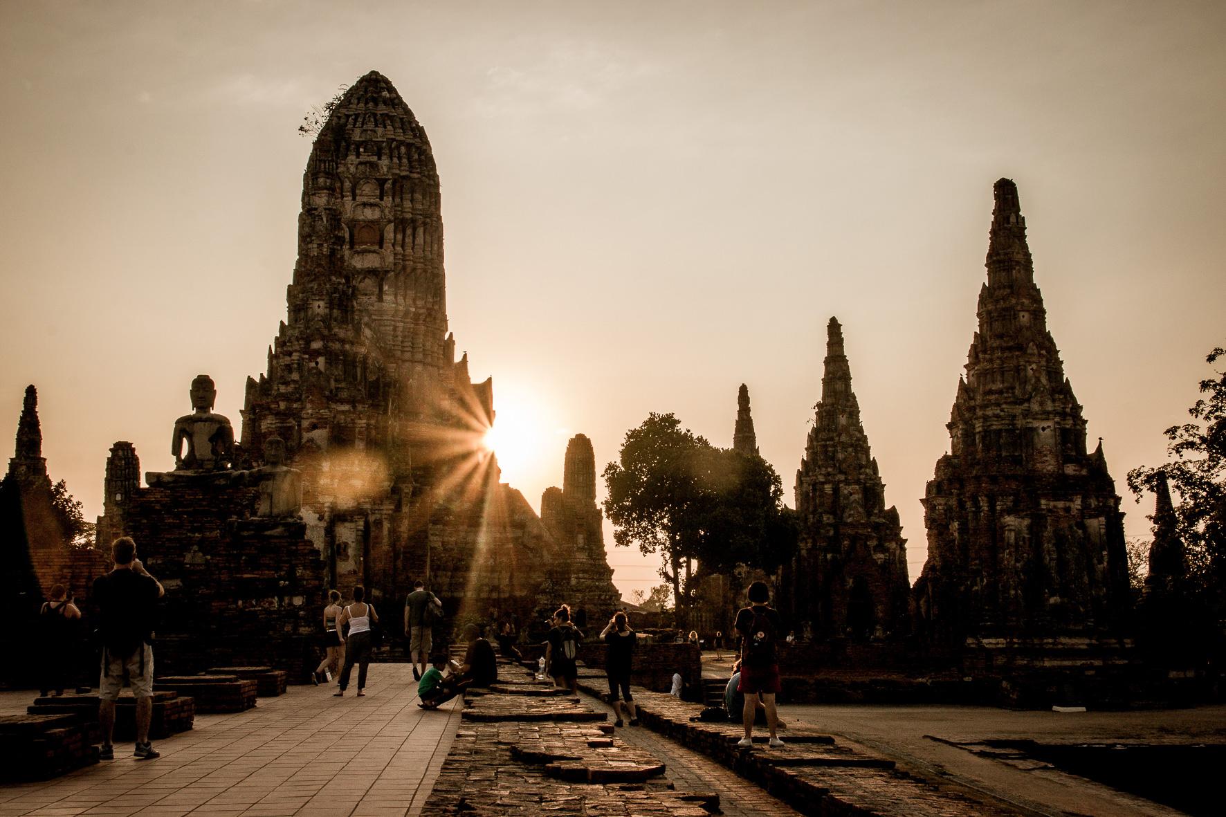 Tempelslenteren in Ayutthaya