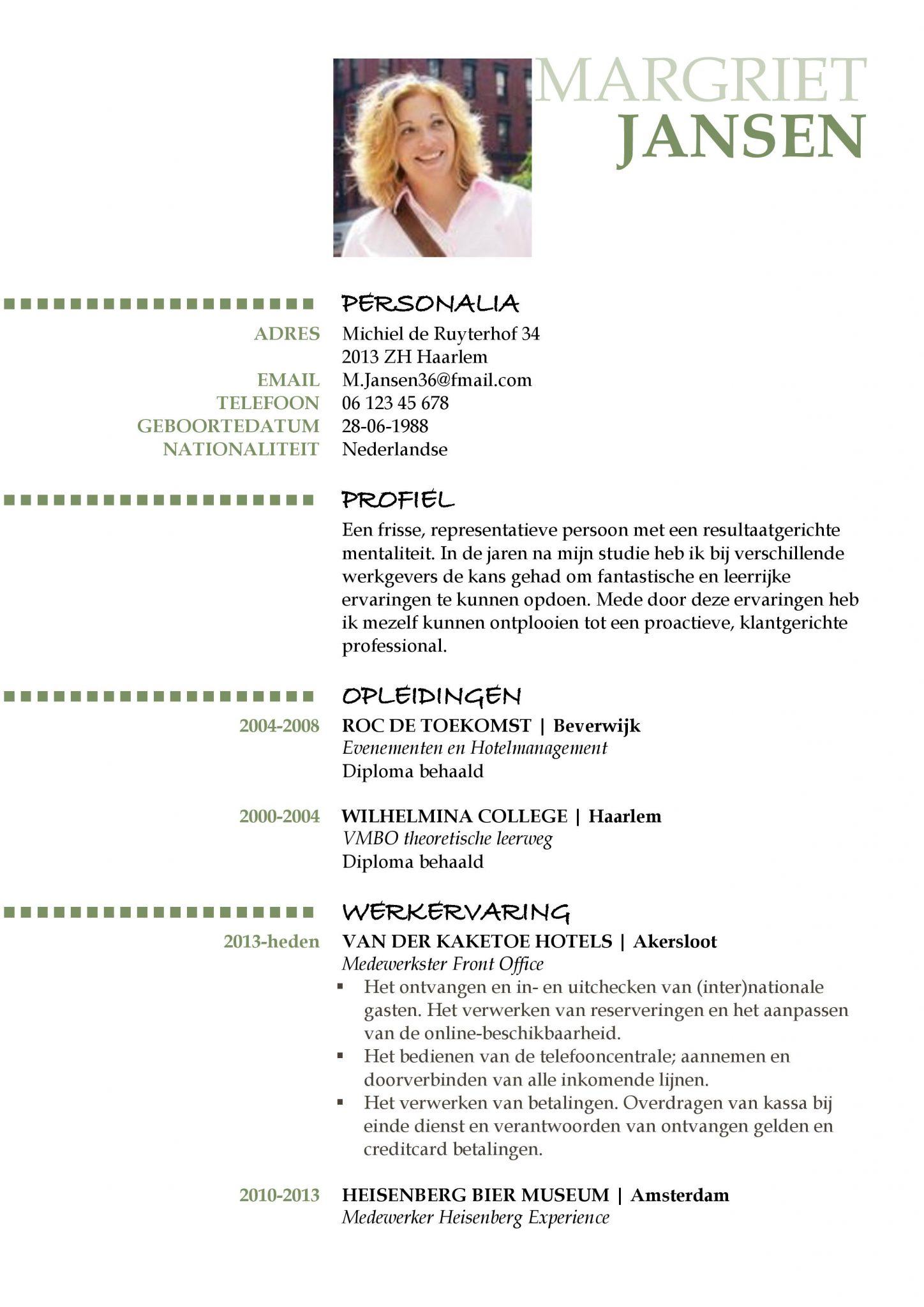 CV Oxford | Voorbeeld CV opstellen en maken met GRATIS CV Sjabloon