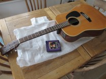 A recent, quick repair on an old Japanese Takamine acoustic. New strings, set up, lowered action at the nut and a bit of a clean up of the fret-board too. Nice old guitars these Takamines