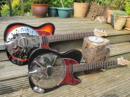 Two of the latest creations here from Sollophonic guitars, two rosewood board neck guitars, both set up with versatile actions, sweet sounding Continental cones, and each with lovely pickups wired to top mounted controls. Both with red torty guards too.