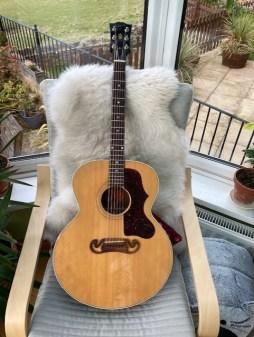 Lovely Gibson J100 in for a bit of TLC. Sweet sounding guitar