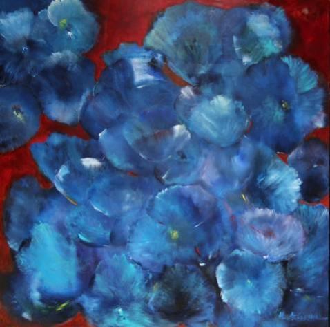 """""""Blaue Blumen"""", 1999 und 2019, 80 cm x 80 cm"""