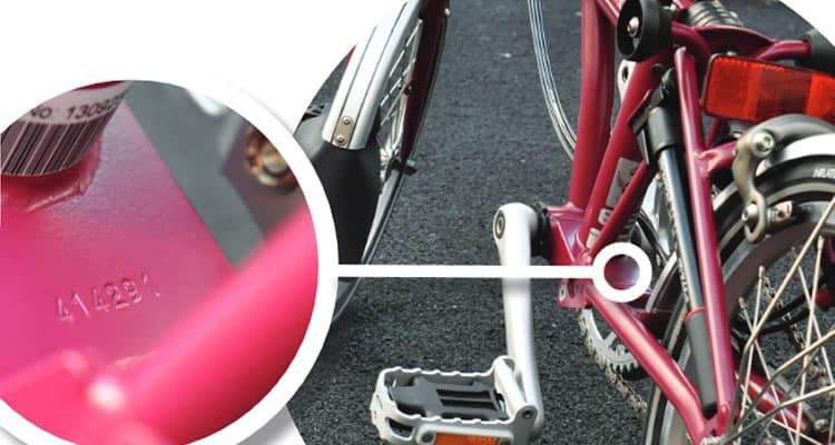 Detalle número de cuadro de bici