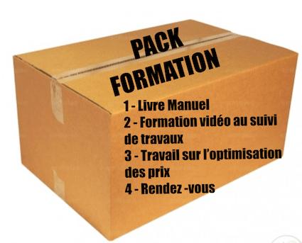 Pack de formation : livre, suivi de travaux, optimisation des prix et rendez-vous.