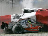 Accidente Kovalainen GP españa