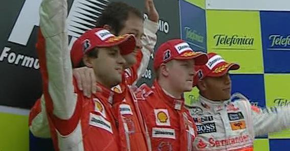 1º Raikkonen 2º Massa 3º Hamilton. GP España