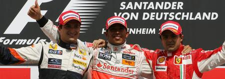 1º HAmilton; 2º Piquet; 3º Massa. GP Alemania