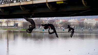 Sculptures below a bridge