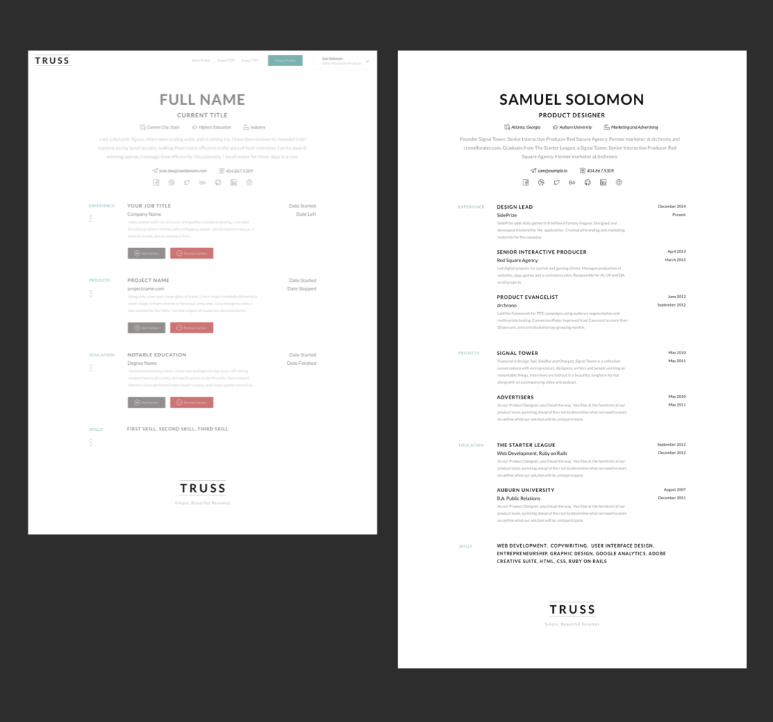 Simple Resume Builder Example