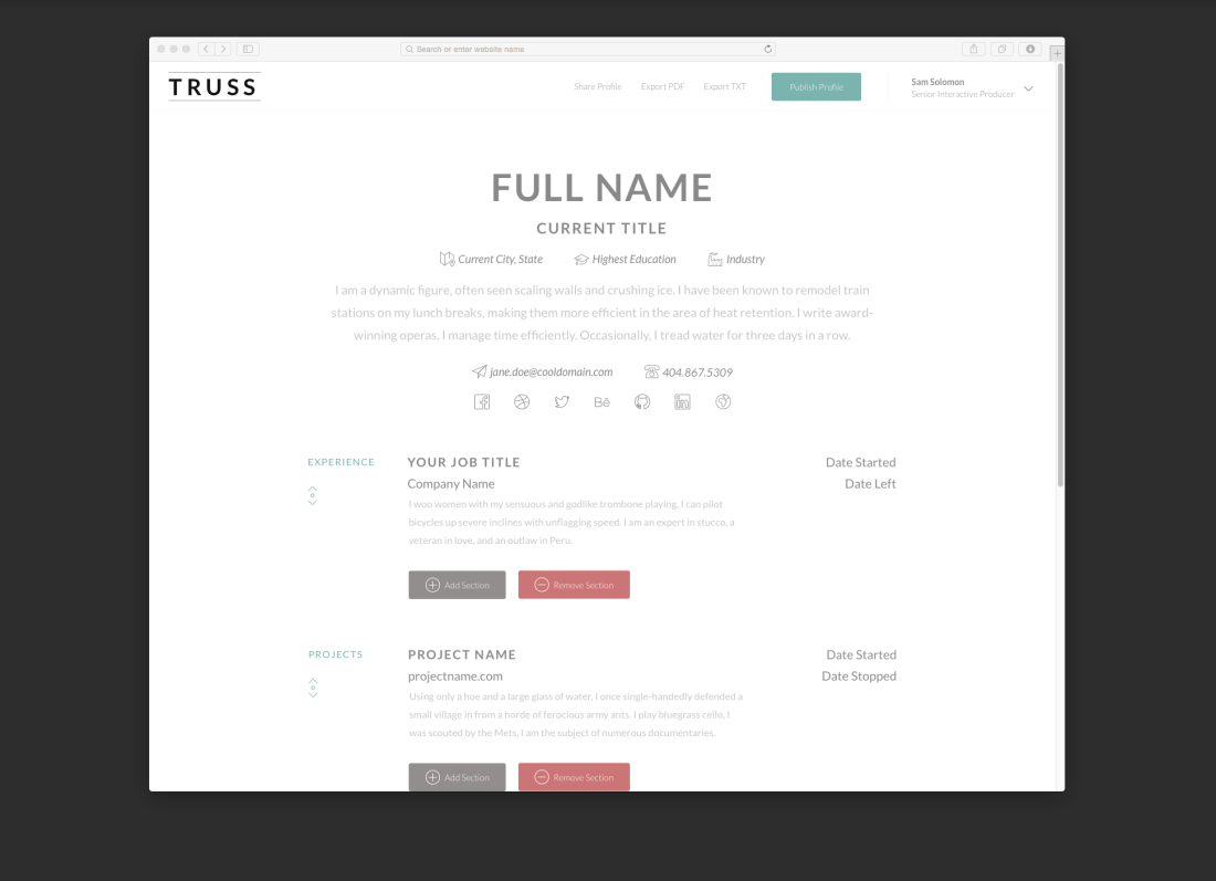 Truss Resume Builder Browser