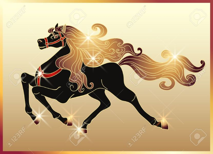 12468135-galloping-black-horse-with-golden-mane-stock-vector-horses-horse-gold