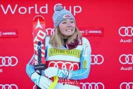 ASPEN,COLORADO,USA,28.NOV.15 - ALPINE SKIING - FIS World Cup, slalom, ladies, award ceremony. Image shows Mikaela Shiffrin (USA). Photo: GEPA pictures/ Christian Walgram