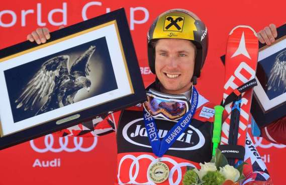 BEAVER CREEK,COLORADO,USA,06.DEC.15 - ALPINE SKIING - FIS World Cup, giant slalom, men, award ceremony. Image shows the rejoicing of Marcel Hirscher (AUT). Photo: GEPA pictures/ Christian Walgram