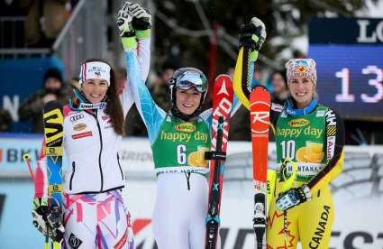 CRANS-MONTANA,SWITZERLAND,15.FEB.16 - ALPINE SKIING - FIS World Cup, slalom, ladies. Image shows Nastasia Noens (FRA), Mikaela Shiffrin (USA) and Marie-Michele Gagnon (CAN). Photo: GEPA pictures/ Mario Kneisl
