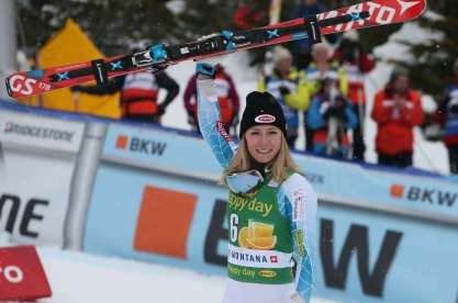 CRANS-MONTANA,SWITZERLAND,15.FEB.16 - ALPINE SKIING - FIS World Cup, slalom, slalom, ladies, award ceremony. Image shows the rejoicing of Mikaela Shiffrin (USA). Photo: GEPA pictures/ Mario Kneisl