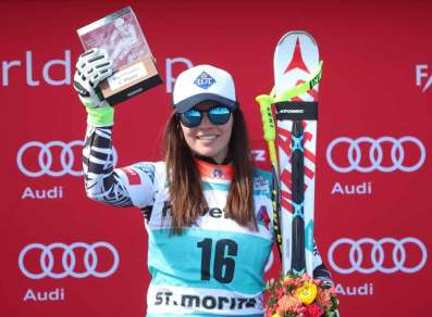 SANKT MORITZ,SWITZERLAND,17.MAR.16 - ALPINE SKIING - FIS World Cup Final, Super G, ladies, award ceremony. Image shows Tina Weirather (LIE). Picture shot with a Canon EOS-1D X Mark II sample. Photo: GEPA pictures/ Christian Walgram