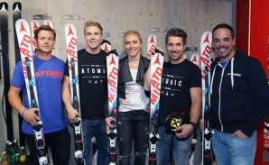 ALTENMARKT,AUSTRIA,06.OCT.16 - WINTERSPORTS - Atomic Racing Media Day. Image shows Mattias Hargin (SWE), Aleksander Kilde (NOR), Mikaela Shiffrin (USA), Marcel Hirscher (AUT) and Peter Fill (ITA). Photo: GEPA pictures/ Harald Steiner