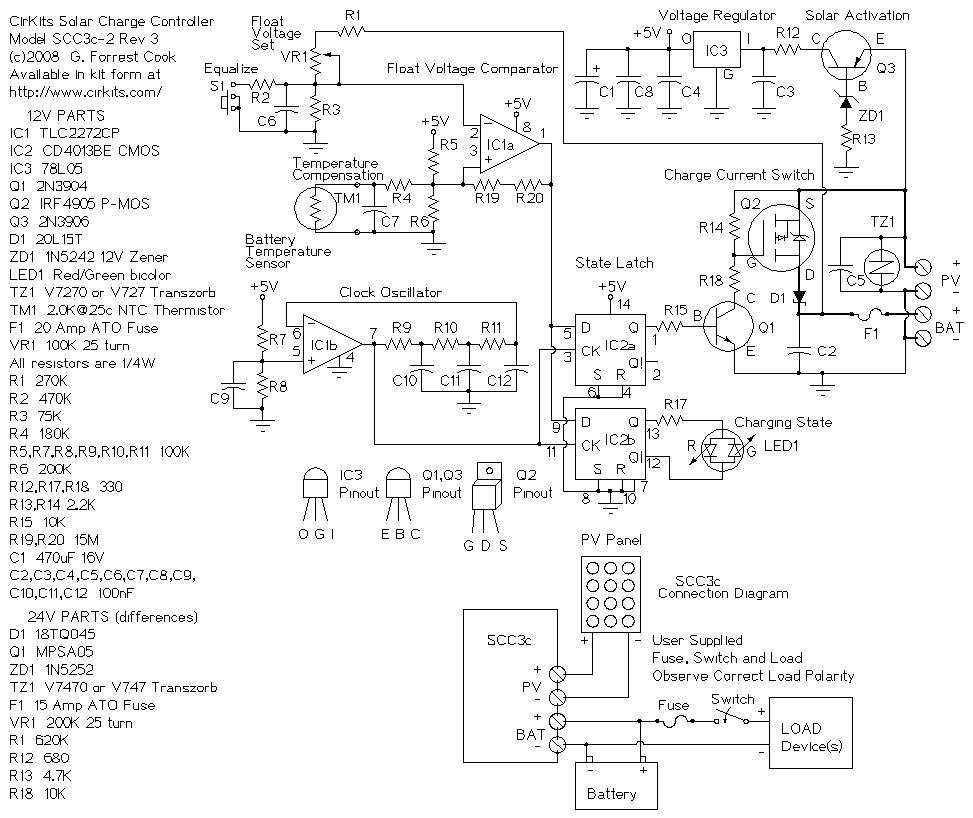 12 volt 20 amp solar charge controller circuit diagram