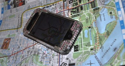 Traditional Map of Washington, D.C., with iPhone Showing D.C. Metro Map
