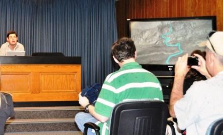 Doug Ellison of Jet Propulsion Laboratory, Demonstrates Eyes on the Solar System to NASA Tweetup Participants, Kennedy Space Center, Fla., Nov. 25, 2011