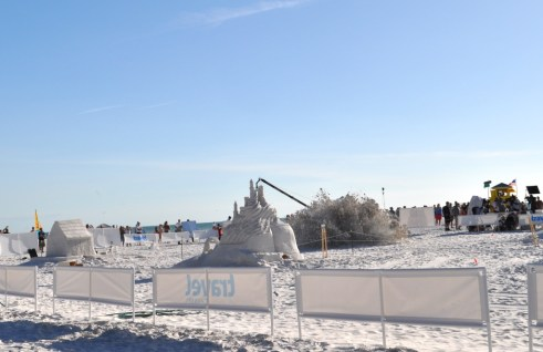 Boom! One Less Sand Sculpture During Filming of the Travel Channel's Sand Wars, Siesta Key, Florida, December 17, 2011