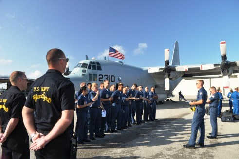 """Blues Crew Gets Debriefed, Something Like """"Turn Right, then Left, then Right, then Left..."""" Punta Gorda Airport, Fla., March 22, 2012"""
