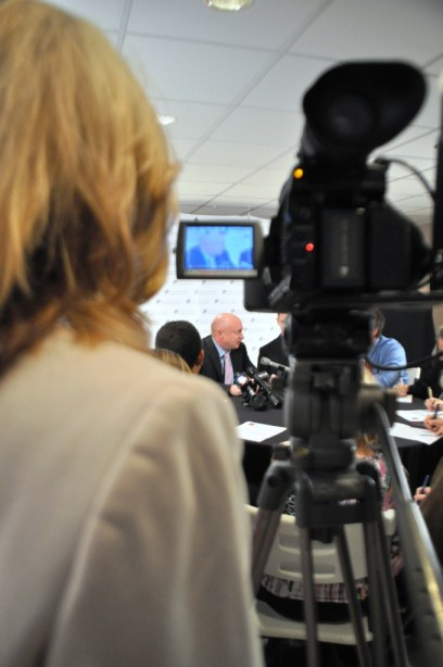 It Was a Full House of Media during the Press Conference with Capt. Mark Kelly, Sarasota, Fla., March 11, 2013