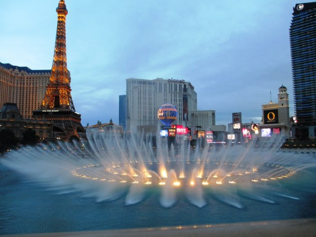 Front Row View of Bellagio's Fountain Show at Yellowtail Japanese Restaurant, Las Vegas, April 2013