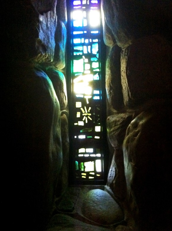 Abstract Stained Glass and Bold Rounded Rocks in the Abbey of the Genesee