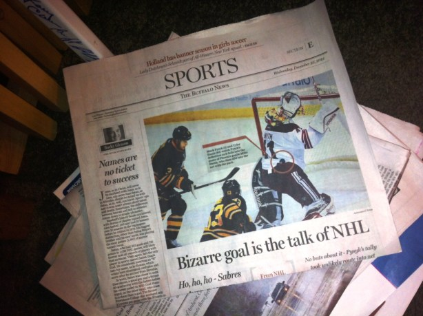 Will the Dec. 23, 2103 Sabres vs. Coyotes Hockey Game Go Down in History Because of the Puck in the Pants in Overtime?