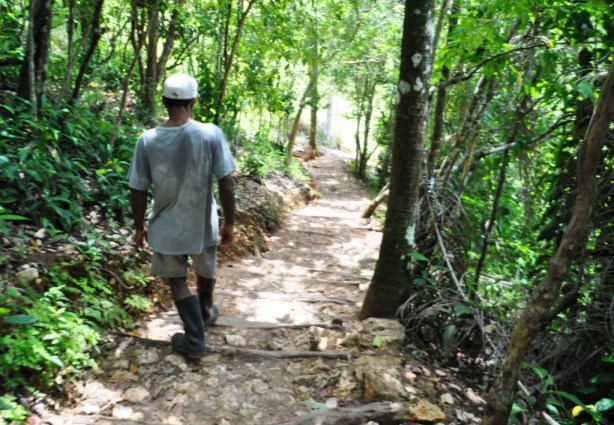 Walking Down to the Base of El Limón Waterfall