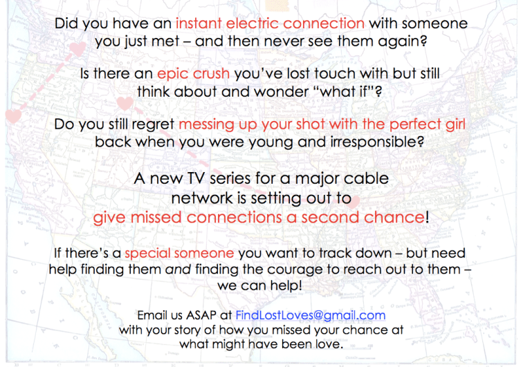 TV Show Casting to Give Missed Connections a Second Chance at Love