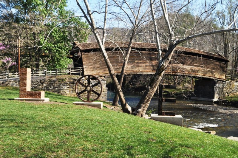 Built in 1857, Humpback Bridge in Covington is Virginia's Oldest Covered Bridget. Don't Ya Love the LOVEwork?