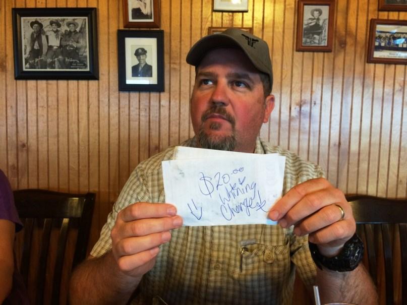 Silly Note from the Cliff House Inn Server, Jasper, #VisitArkansas, June 13, 2015