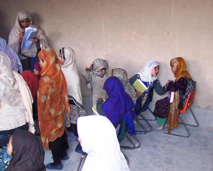 Girls Receive Books in Wardak Province, Afghanistan, March 2006
