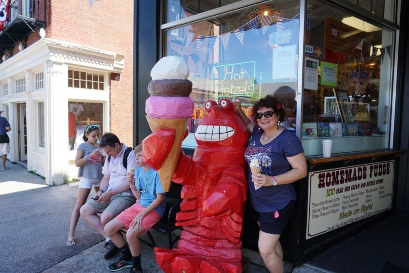 Me with Lobster and Blue Berry Ice Creams at Ben & Bill's Chocolate Emporium in Bar Harbor, Maine.