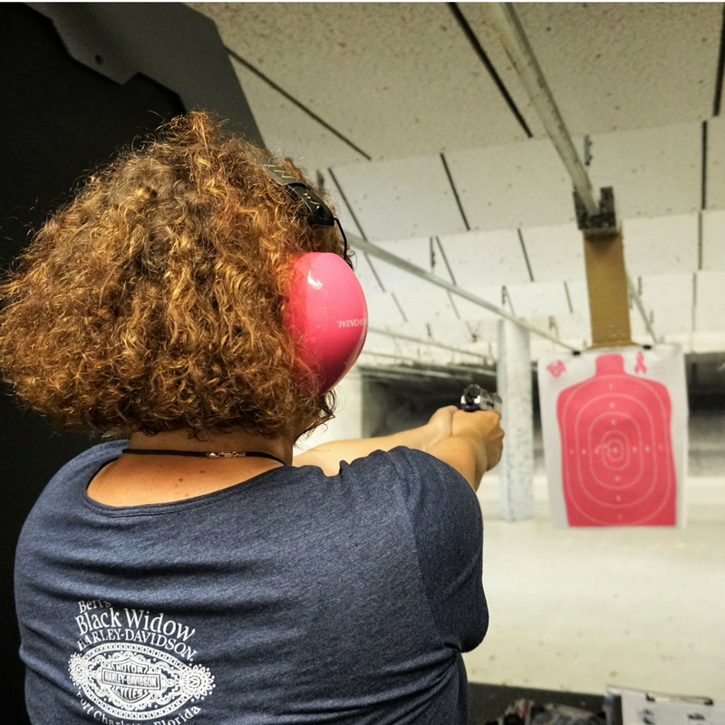 That's Me! At the Gun Range Firing a Handgun for the First Time. With Female Firearms Training Trainer Shirley King, Port Charlotte, Fla., April 29, 2017