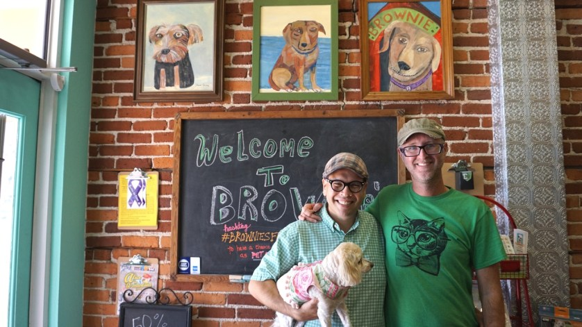 Brownie's Dog Boutique Proprietors Alvin Almodovar and Eddie James with their Rescue Dog, Delilah.
