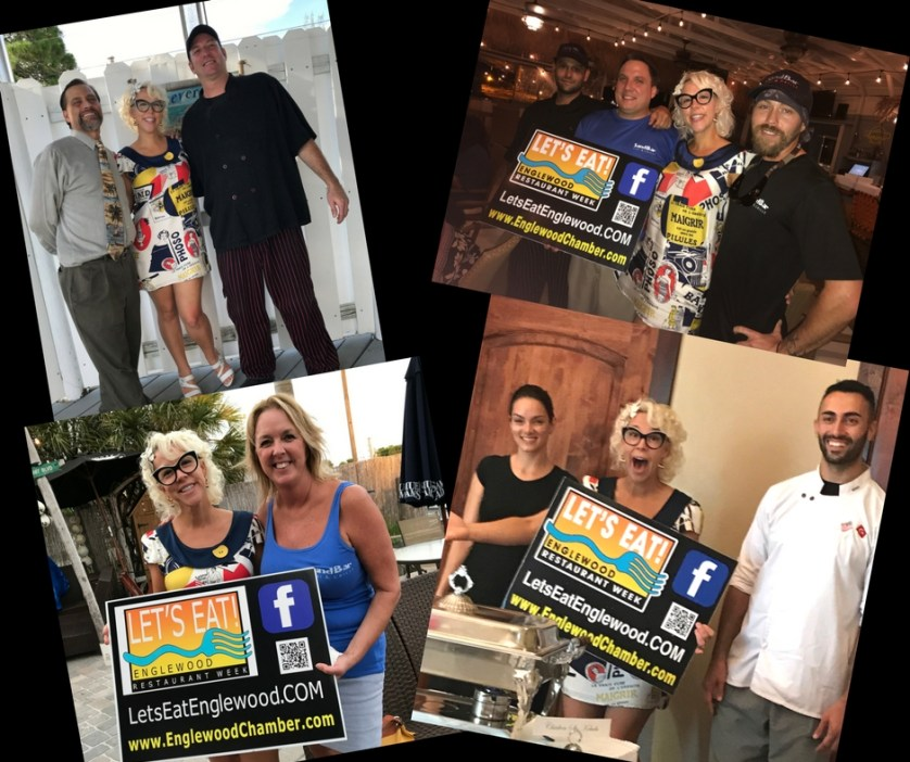 Emily Ellyn with Some of the Chefs, Managers and Owners of Participating Let's Eat! - Englewood Restaurant Week Eateries, Englewood, Florida, Sept. 5, 2017.