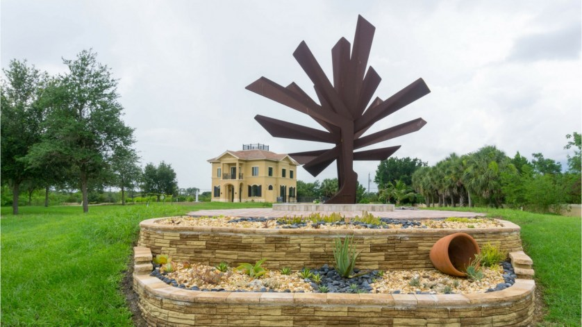 """""""Steel Palm"""" is Signature Sculpture of the Peace River Botanical & Sculpture Gardens in Punta Gorda, Fla."""