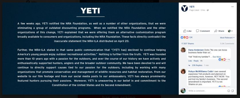 YETI Statement on Facebook and Some Comments.