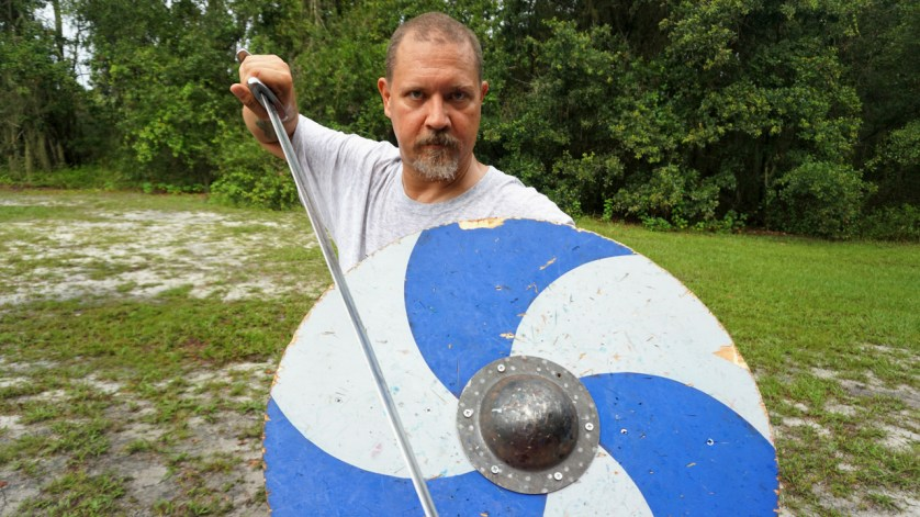 Max Demonstrates the Proper Way to Hold a Sword and Shield. If you Attend Viking Training, Work with Max!