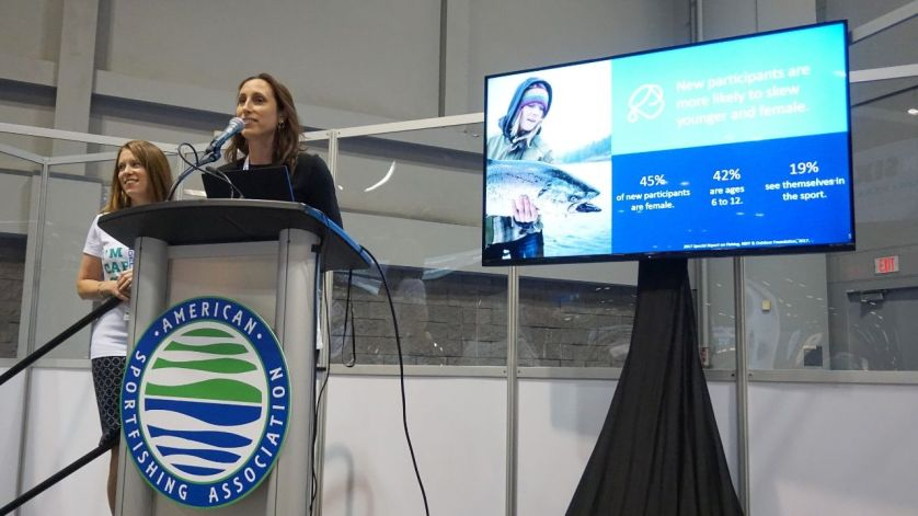 Rachel Piacenza, Director of Marketing for the Recreational Boating & Fishing Foundation, Speaks to an Audience During the 2018 ICAST in Orlando, Fla.